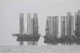 Jack-up drilling rigs parked off Port Gentil, Gabon