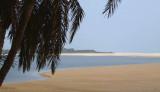 The Iguela Lagoon meets the ocean at St Catherine's Beach, Loango NP, Gabon
