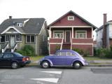 Purple VW beetle on Adanac Street, East Vancouver