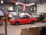 The new car still moving around the shop...