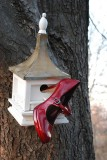 Red Shoe In Birdhouse