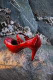 Red Shoe On Rock