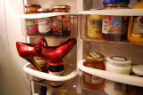 Red Shoe In Fridge