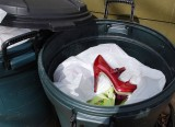 Red Shoe In Trash