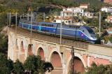 A TGV Duplex on the Anthéor bridge, between Cannes and St-Raphaël.