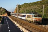 A night train coming from Bordeaux with the BB22341,  near Le Trayas.