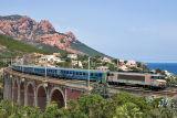 The BB22326 and a Téoz train on the Anthéor bridge. Heading to Marseille.