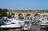 A Téoz train on the La Rague bridge, near Cannes and heading to Nice.