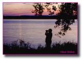 Birder  At Onondaga Lake During A Sunset