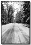 A Monochrome View Of An Old Country Road In Winter