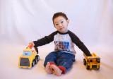Hayden and his trucks