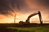 Excavator & windmills
