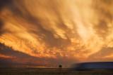 Storm, sunset & highway