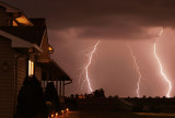 Lightning behind the house