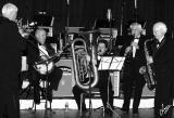 IMG_2151 The Trocadixies:  Pete Stevenson - trombone, Doug Zimmerman - cornet,  Chris Allen - announcer, George crazy legs Lak