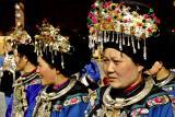 Miao women in traditional headdress. Dehang Village
