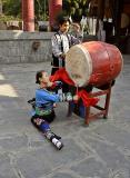 Miao Drum Princess during drum ceremony, Dehang Village.
