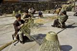 Basket making. People working in groups is a common sight.
