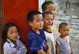 Children late in the day near Gao Shan a mountain village, Hunan Province, China