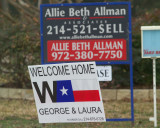Welcome Home W Signs all over the area