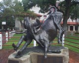 Bill Pickett Statue outside of the Coloseum in the Stockyards in Ft Worth Texas
