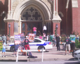 Westboro Baptist Church of Topeka Ks Protests at Cathederal Guadalupe in Downtown Dallas 7-11-10