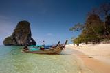 Phra Nang Beach: Long-tail Boats  & Limestone Cliff