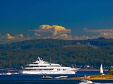 Megayacht Blue Moon rounding Harbor Point