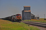 A westbound BNSF trains passes by the abandoned elevator.