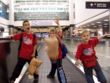 riding the moving walkway