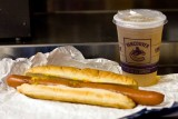 A foot long hot dog and a Molson Canadian