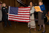 Maggie receives a congratulatory note from House Speaker Nancy Pelosi and an American flag that had flown over the Capitol.