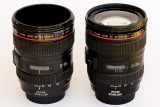 6/11/2010  Canon Lens 1:1 Scale Coffee Cup and the real lens