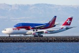 6/12/2010  Southwest Boeing 737 landing while Swiss Air Airbus A340 taking off