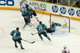 Antti Niemi falls and loses his stick