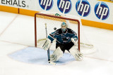 Antti Niemi watches the puck