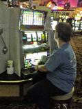 Gail trying her luck at the machine I won on