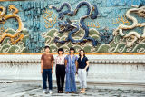 Elliot, Pat, Diane and Glory in front of the Nine Dragon Wall, Forbidden City, Beijing, China