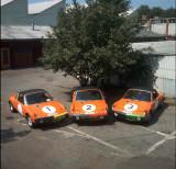 The three Porsche 914-6 GT race cars just prior to the Marathon de la Route race in 1970