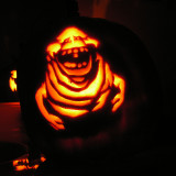 Slimer coming out from the mutated hump on the back of the pumpkin
