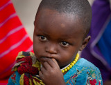 child at Maasai market