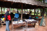 Our cook Woody check out the kitchen at Twiga camp