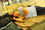 sleeping at Madrid Airport