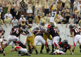 Yellow Jackets DE Derrick Morgan tips a field goal attempt with 9 seconds left in the game to give Tech the win