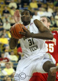 Yellow Jackets F Lawal pulls down an offensive rebound
