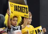 Georgia Tech fans cheer on their Yellow Jackets