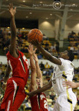 Tech G Shumpert goes up for a shot against Terrapins F Gregory