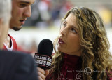 A CSS College Hoops reporter interviews Maryland G Vasquez after the game
