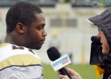 Georgia Tech A-back Dwyer is interviewed after the victory over North Carolina