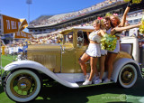 Yellow Jackets Cheerleaders ride the Ramblin' Wreck into Bobby Dodd Stadium…